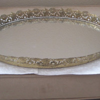 Vintage Mirror/Home Decor/Large/Ornate/Oval Mirror/Gold Floral Decorative Edge/Vanity Mirror-Tray/1950's/Mid-Century/New Lower Price
