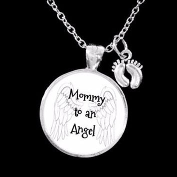 Mommy To An Angel Baby Feet In Memory Remembrance Sympathy Gift Necklace