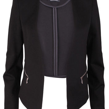 Black Structured Zip Blazer