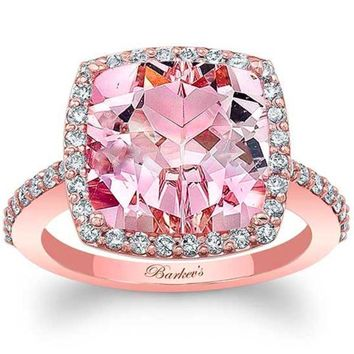 Barkev's Cushion Cut Morganite Halo Diamond Engagement Ring