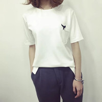 Whale Tail Embroidery Sport T-shirt