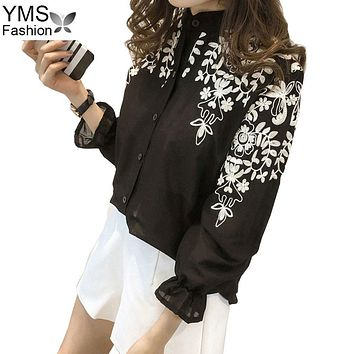 Summer Shirt Women Black White Blouse 2018 Korean Long Sleeve Embroidery Blouse Office Shirt 5XL Cotton Linen Plus Size Tops