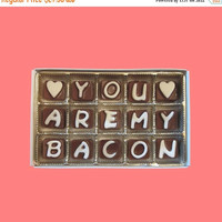 Funny Unique Fun Cute Anniversary Gift Boyfriend Gift for Men Him Valentines Day Romantic LOL Gift You Are My Bacon Cubic Chocolate Message