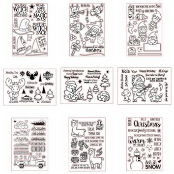 4x6inch Christmas Transparent Clear Silicone Stamp Set for DIY Scrapbooking/Photo Album Card Making Decorative Clear Stamps