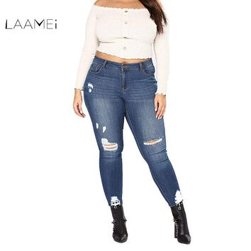 Laamei Plus Size 7XL 2018 New Summer Female High Waist Skinny Jeans Pencil Pants Hole Ripped Jeans Cool Ankle Length Women Jeans