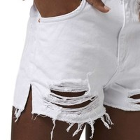 Topshop High Rise Ripped Denim Shorts | Nordstrom