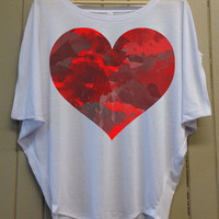 Water Heart - Anti Valentines Day - Dolman Short Sleeve - Cute, Stylish and Comfortable - Light Grey Top - 304