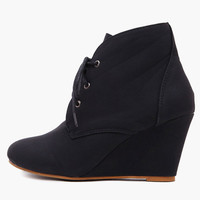 Black Lace Up Wedge Shoes
