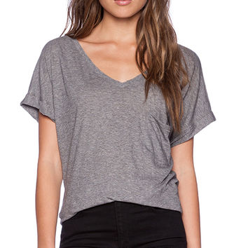 C&C California Roll Sleeve V Neck Tee in Gray