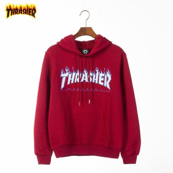 THRASHER Tide brand classic multi-color flame printing letters couple models hooded sweater Red