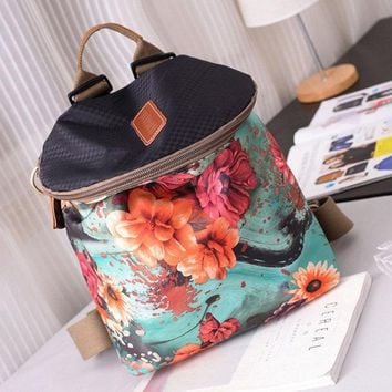 Women Canvas Genuine Leather Print Multi-function Backpack