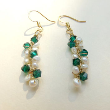 Bridesmaids Earrings - Emerald Green Swarovski Crystals and Seed Pearl Gold Wire Wrapped Twig Dangle Earrings (made to order 10 day wait)