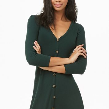 Button Ribbed A-Line Dress
