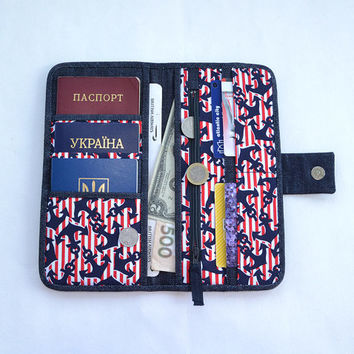 Nautical denim travel holder | Jeans passport wallet | Red cotton travel organizer | Black cardholder | Anchor print | Travel wallet