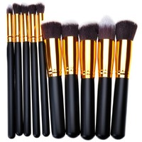 OnePlus 10pcs Premium Eyeliner Face Powder Makeup Brush Set Cosmetics Foundation Blending Blush Golden Black Brush Kit