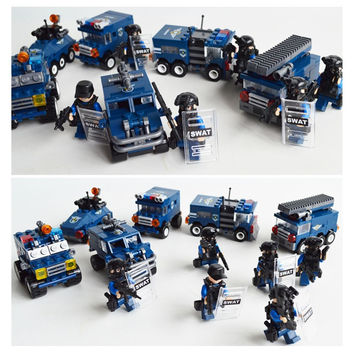 KAZI 6 Models City SWAT Team Block Building Bricks Compatible with lego Kids Game Blocks Educational Learning Toys