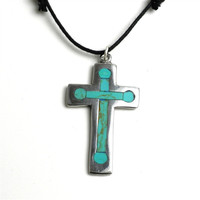 Turquoise and Alpaca Silver Cross Necklace