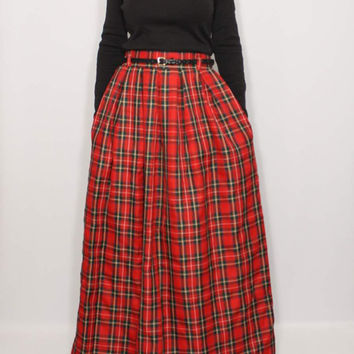 High waisted long skirt Red pleated skirt with pockets