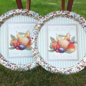 Round metal serving trays (2) with painted fruits and green white stripes - Country orchard - pear peach cherry plum