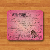 Vintage Pink Love Letter Mouse Pad Love You Bird Envelope Drawing MousePad Computer Deco Soft Rubber Screen on Fabric Valentine Girl Gift