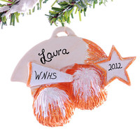 Cheer Leader ornament - Christmas ornament personalized free - Orange and White cheer ornament - remember that special year cheering