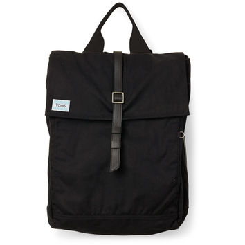 TOMS black waxed canvas trekker backpack