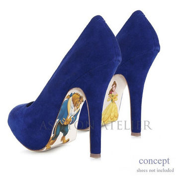 Custom hand painted Beauty and the Beast Pumps