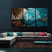 """Painting, 72"""" Green and Blue Landscape, abstract art, original tree art, Turquoise painting on canvas, Wall art by Nandita Albright"""
