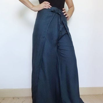 25% OFF Unisex Pant String Tie  Pants (Wrap pants) Loose And Comfy,Rayon In Navy Blue.