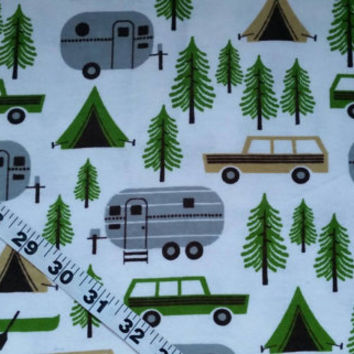 Camping Flannel fabric RV Trailer camp station wagon forest cotton print quilt sewing material to sew by the yard BTY crafting project