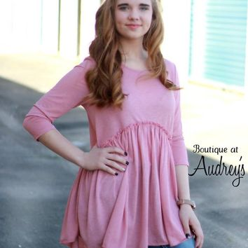 Dark Blush Babydoll Tunic with Ruffle Trim
