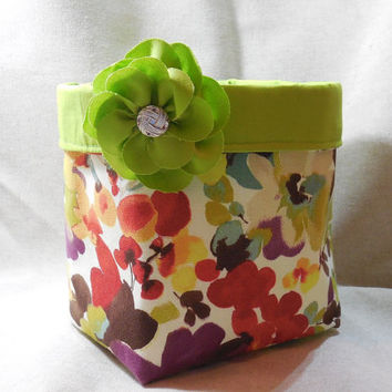 Gorgeous Large Floral Fabric Basket With Lime Green Liner and Detachable Flower Pin