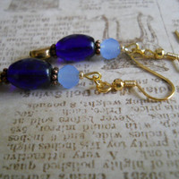 Dark Copper Earrings Sky Navy Cobalt Royal Ocean Blue Glass Beaded Jewelry