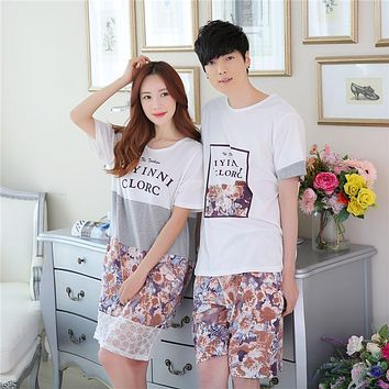BabYoung Lovers pajamas women short-sleeved summer pyjama Loose men pure cotton couple pijama set sleepwear Knee Pants Homewear