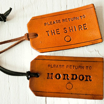 Lord of the Rings - Leather Luggage Tags - Set of 2 - Return to the Shire and Return to Mordor - where do YOU want to go today