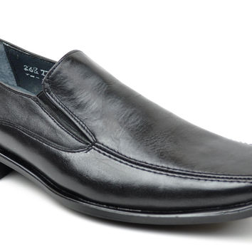 Baronett Men's Dress Slip On Square Toe Genuine All Leather Shoes 7704 Black