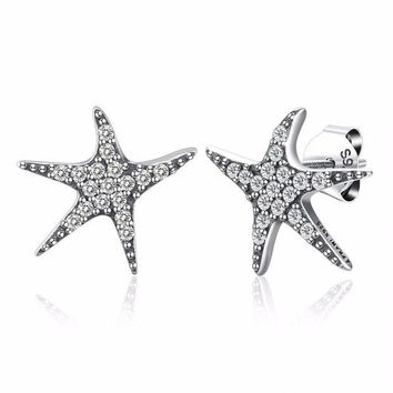 ac spbest Thomas Style Cubic Zirconia Sterling Silver Star Stud Earrings Trendy Women Jewelry 2018 Brand New Classic Wanita Cantik Bijoux