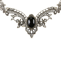Filigree Black Stone Statement Necklace