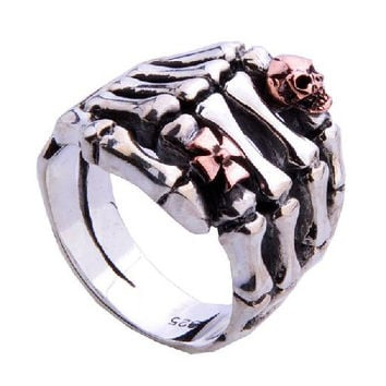 Skeleton Hand Ring Fashion for Men's Fine Jewelry Accessories-Size 11