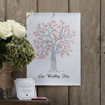 A Vintage Affair Wedding Fingerprint Tree Pink Shabby chic wedding Guest Book Wedding day