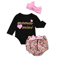 Baby Clothing Newborn Kid Baby Girl Clothes Long Sleeve Romper Jumpsuit +Ruffle Shorts +Bow Headband Outfit Set