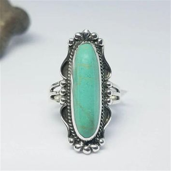 Antique 925 Sterling Silver Large Natural Gemstone Turquoise Vintage Ring Wedding Bridal Engagement Women's Fine Jewelry Sz 6 7