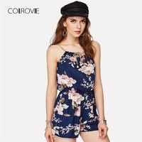 COLROVIE Floral Print Random Self Tie Cami Romper  Spaghetti Strap Women Rompers Summer Beach Loose Playsuits