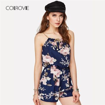 COLROVIE Floral Print Random Self Tie Cami Romper 2018 New Holiday Spaghetti Strap Women Rompers Summer Beach Loose Playsuits