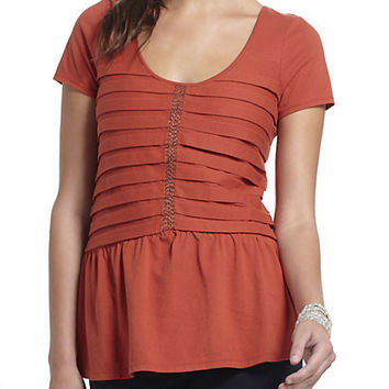 Stacked Pleats Peplum Top`