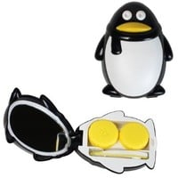 Penguin Contact Lens Carrying Case Travel Kit (Black)