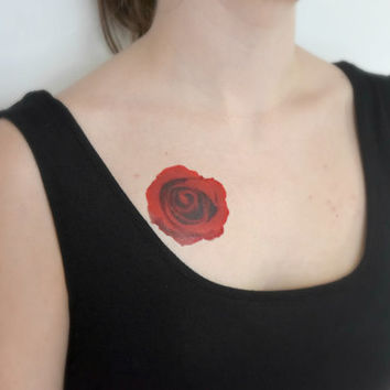 Temporary Tattoo - Rose, Wildflower, Valentines, For her, Red, Skin