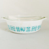 Vintage Small Pyrex Butterprint Casserole #471 Rare Promotional Retro Kitchen White and Teal 1 Pint Farmers Pattern Collectible  With Lid
