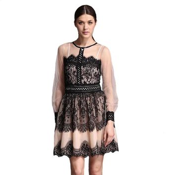 New Autumn Winter Women Elegant Lace Dresses Vintage Patchwork Hollow Out Sexy Sheer Long Sleeve Large Swing Mini Party Dress