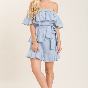 Abby Blue Stripe Ruffle Dress